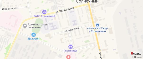 Улица Главного маршала артиллерии Неделина на карте Солнечного поселка с номерами домов