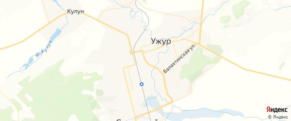 Карта Ужура с районами, улицами и номерами домов: Ужур на карте России