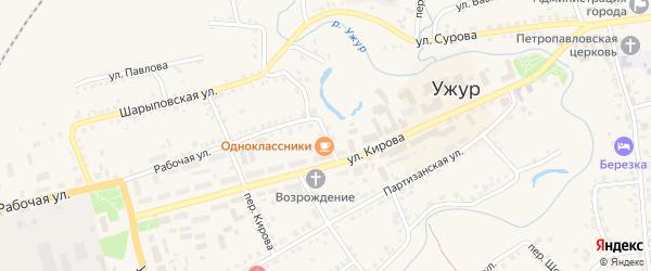 Улица Герцена на карте Ужура с номерами домов