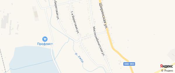 Мясокомбинатский переулок на карте Ужура с номерами домов