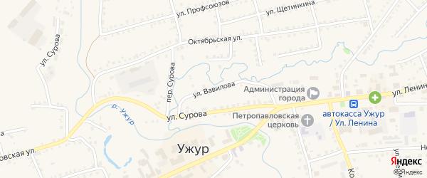 Улица Вавилова на карте Ужура с номерами домов