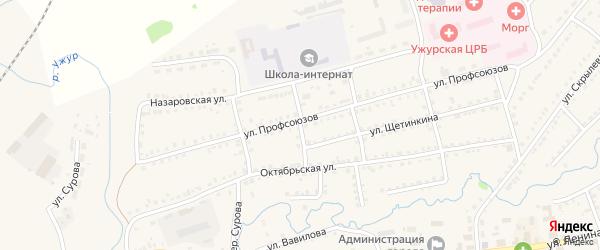 Улица Чехова на карте Ужура с номерами домов