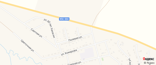 Полевой переулок на карте села Ширы Хакасии с номерами домов