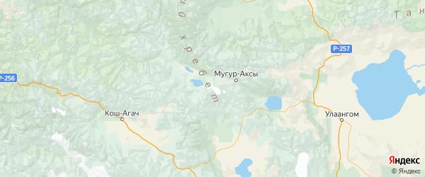 Карта Монгун-тайгинского района Республики Тывы с городами и населенными пунктами
