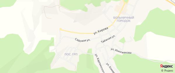 Территория ГСК Кирова 19-23 на карте Сорска с номерами домов