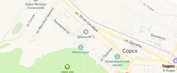 Улица Толстого на карте Сорска с номерами домов