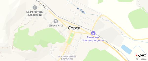 Территория ГСК Кирова 24А на карте Сорска с номерами домов