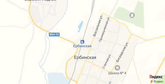 Карта поселка Ербинская в Сорске с улицами, домами и почтовыми отделениями со спутника онлайн