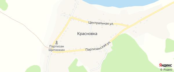 Улица Затишье на карте деревни Красновки Красноярского края с номерами домов