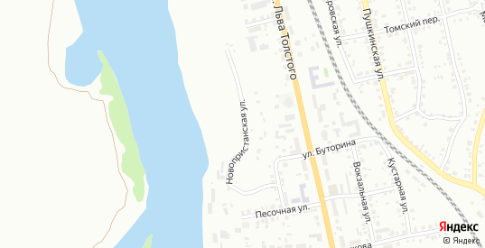 Новопристанская улица в Ачинске с номерами домов на карте. Спутник и схема онлайн