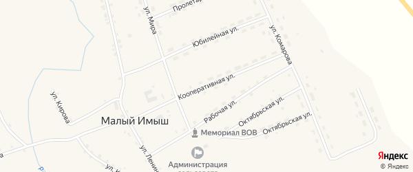 Кооперативная улица на карте села Малого Имыша Красноярского края с номерами домов