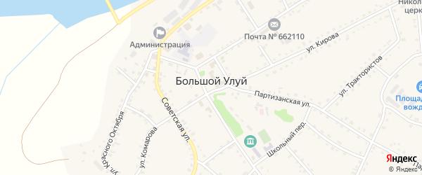 Улица Мира на карте села Большого Улуя Красноярского края с номерами домов
