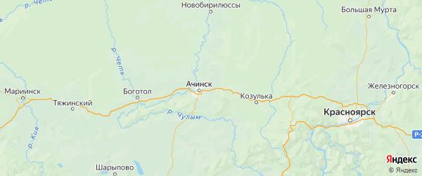 Карта Ачинского района Красноярского края с городами и населенными пунктами