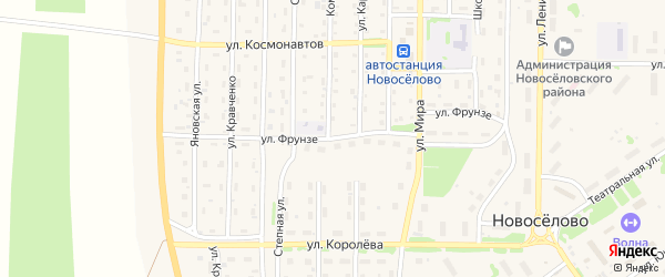 Улица Фрунзе на карте села Новоселово Красноярского края с номерами домов