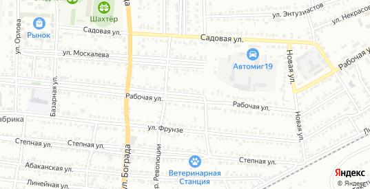 Рабочая улица в Черногорске с номерами домов на карте. Спутник и схема онлайн