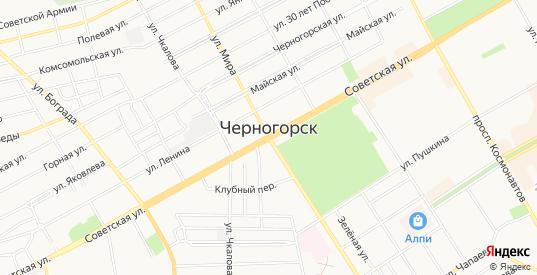 Карта территории Урочище Куня-1б в Черногорске с улицами, домами и почтовыми отделениями со спутника онлайн
