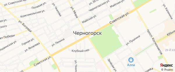 Карта территории Урочище Куни-1 города Черногорска в Хакасии с улицами и номерами домов