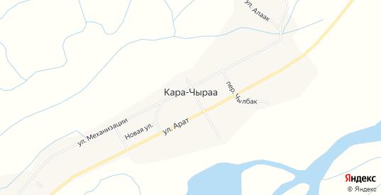 Карта села Кара-Чыраа в республике Тыва с улицами, домами и почтовыми отделениями со спутника онлайн