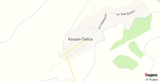 Карта села Кызыл-Тайга в республике Тыва с улицами, домами и почтовыми отделениями со спутника онлайн