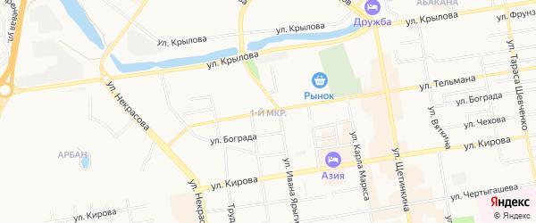 Район 1-й квартал 73-й ГСК на карте Абакана с номерами домов