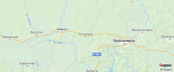 Карта Козульского района Красноярского края с городами и населенными пунктами