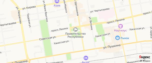 Карта железнодорожной станции Подсинего города Абакана в Хакасии с улицами и номерами домов