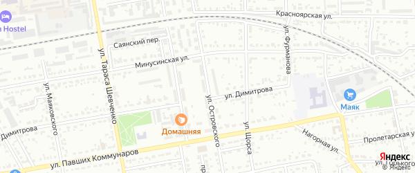 Улица Островского на карте Абакана с номерами домов