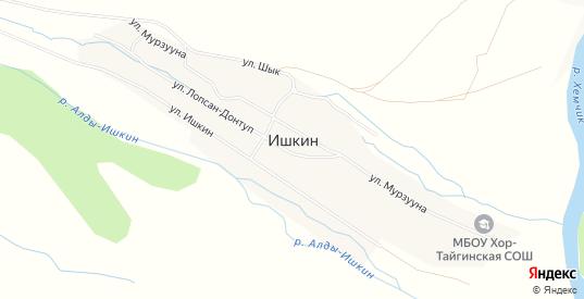 Карта села Ишкин в республике Тыва с улицами, домами и почтовыми отделениями со спутника онлайн