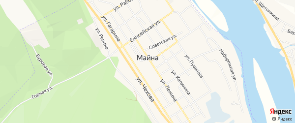 Карта поселка Майны города Саяногорска в Хакасии с улицами и номерами домов