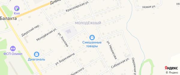Улица Юшкова на карте поселка Балахты Красноярского края с номерами домов