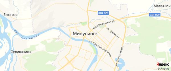 Карта Минусинска с районами, улицами и номерами домов