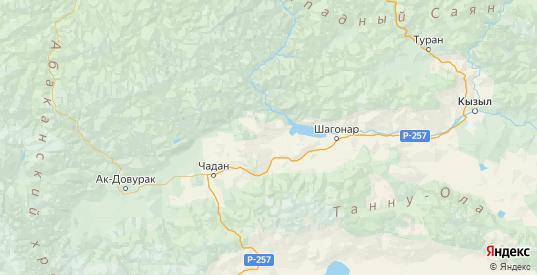 Карта Чаа-хольского района республики Тыва с городами и населенными пунктами