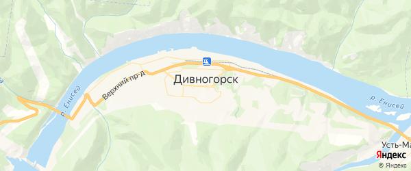 Карта Дивногорска с районами, улицами и номерами домов