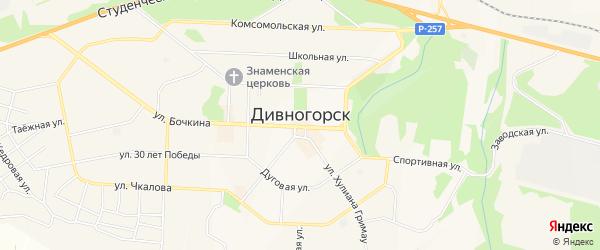 Территория Восточная коммунальная зона на карте Дивногорска с номерами домов