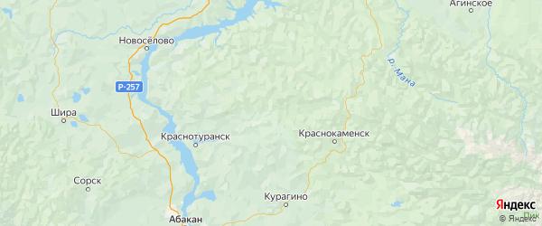 Карта Идринского района Красноярского края с городами и населенными пунктами