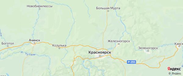 Карта Емельяновского района Красноярского края с городами и населенными пунктами
