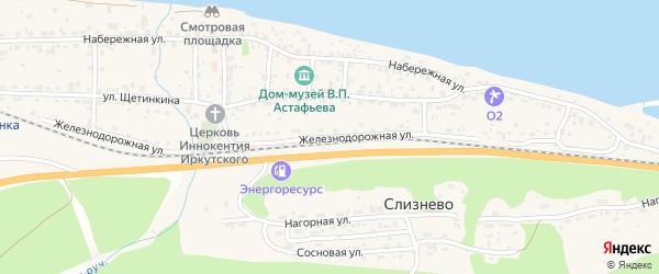Железнодорожная улица на карте Известкового поселка Красноярского края с номерами домов