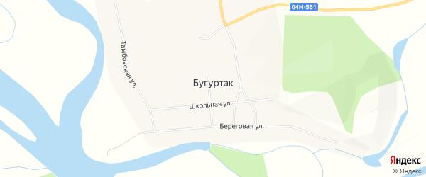 Карта поселка Бугуртака в Красноярском крае с улицами и номерами домов