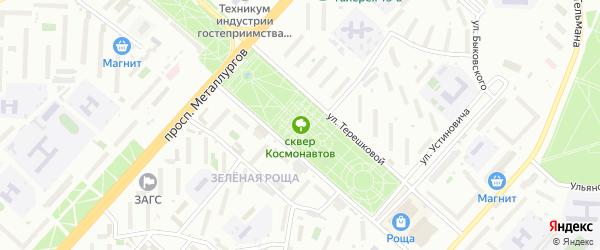 Сквер Космонавтов на карте Красноярска с номерами домов