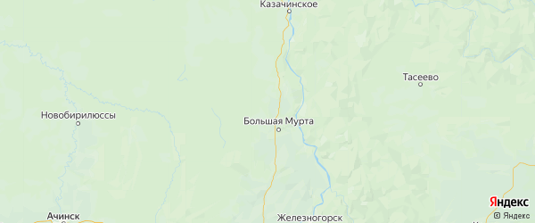 Карта Большемуртинского района Красноярского края с городами и населенными пунктами
