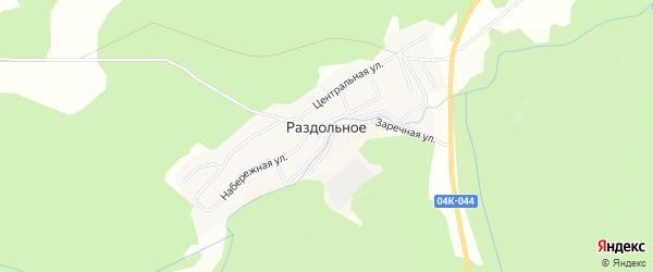 Карта поселка Раздольного в Красноярском крае с улицами и номерами домов