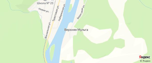 Карта деревни Верхней Мульги в Красноярском крае с улицами и номерами домов