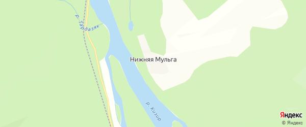 Карта деревни Нижней Мульги в Красноярском крае с улицами и номерами домов