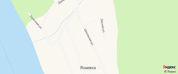 Школьная улица на карте поселка Язаевка Красноярского края с номерами домов