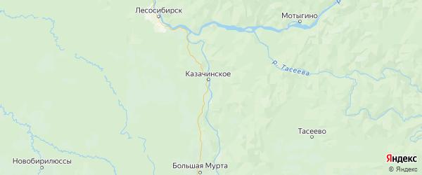 Карта Казачинского района Красноярского края с городами и населенными пунктами