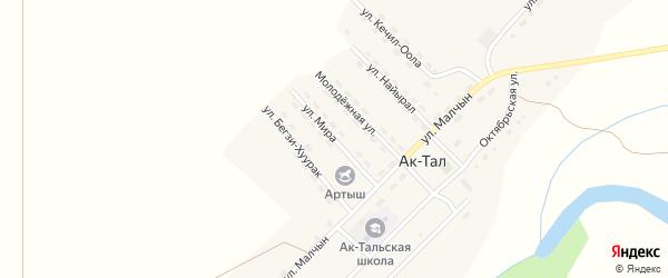 Улица Мира на карте села Ак-Тал Тывы с номерами домов