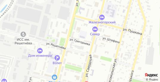 Улица Григорьева в Железногорске с номерами домов на карте. Спутник и схема онлайн