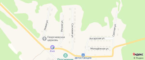 Сосновая улица на карте поселка Новоангарска Красноярского края с номерами домов