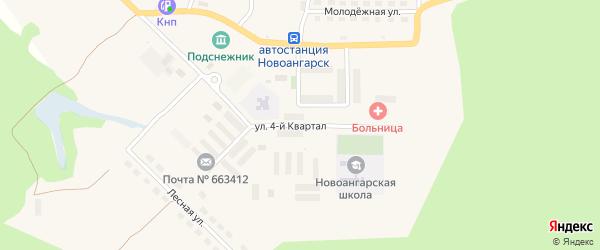 Улица 4 Квартал на карте поселка Новоангарска Красноярского края с номерами домов