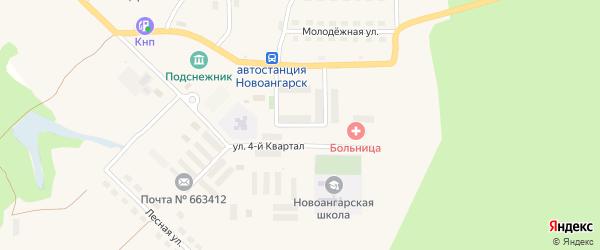 3-й квартал на карте поселка Новоангарска Красноярского края с номерами домов